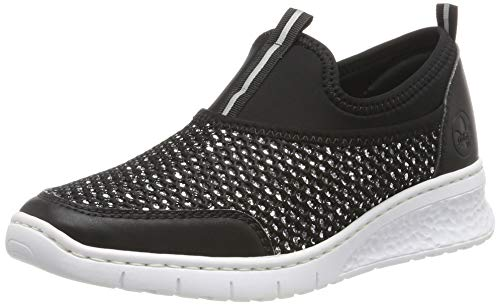 Rieker Damen 581Q2-00 Slip On Sneaker, Schwarz (Silber/Schwarz 00), 40 EU