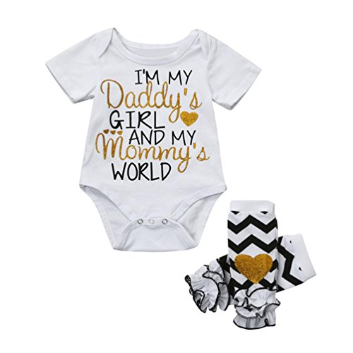 bb2ba7cbc Kaiki Infant Newborn Baby Girl Short Sleeve Jumpsuit Letters Print Romper  +Ruffles Leg Set I'm My Daddy's Girl and My Mommy's World (6 Months, ...