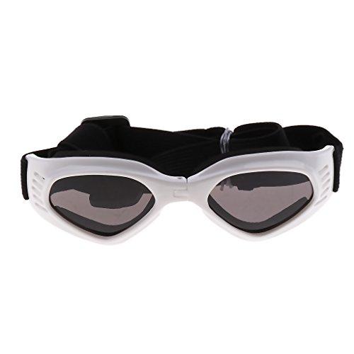 perfk Hundebrille Hunde UV Sonnenbrille Wasserdicht Schutzbrille, Weiß/Blau/Gelb - Weiß