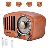 Altoparlanti Bluetooth Radio Portatile Qoosea Stereo Portatile in Legno Retro con Altoparlante Super Bass Subwoofer con Radio FM Jack Audio da 3,5 mm e Porte per schede TF Lettore MP3