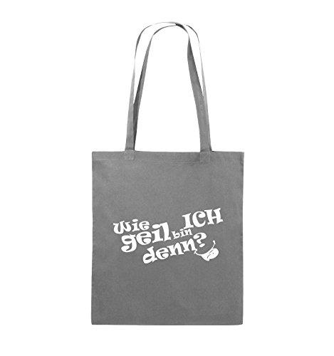 Comedy Bags - Wie geil bin ICH denn? - ZUNGE - Jutebeutel - lange Henkel - 38x42cm - Farbe: Schwarz / Silber Dunkelgrau / Weiss