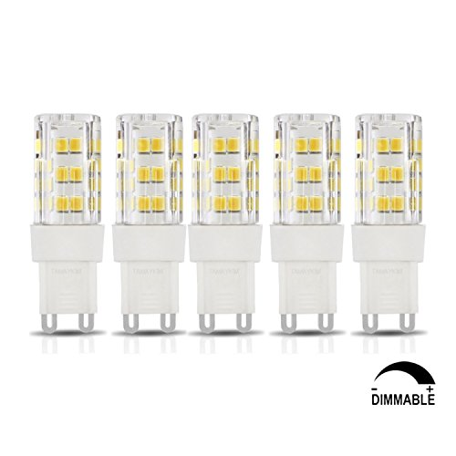 TAMAYKIM 5W Dimmable G9 Culot Projecteur Ampoule de maïs à LED - 4500K Blanc Neutre 450LM SMD 2835 - 5 Watts Consommés - Équivalent 50W - AC 220V-240V - Angle de Faisceau 360° - Lot de 5