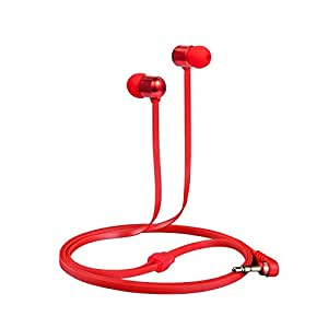 Betron B750s Earphones Headphones, High Definition, in-ear, Tangle Free, Noise Isolating , HEAVY DEEP BASS for iPhone, iPod, iPad, MP3 Players, Samsung Galaxy, Nokia, HTC, Nexus (Red)