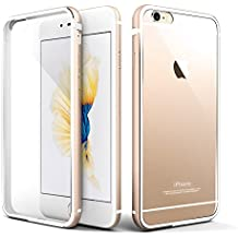 Cover iPhone 6s, Roybens® Metallo Silicone 2 in 1 Trasparente Cover Ultra Sottile Antiurto Custodie per Apple iPhone 6 e iPhone 6s, Oro [Gold]
