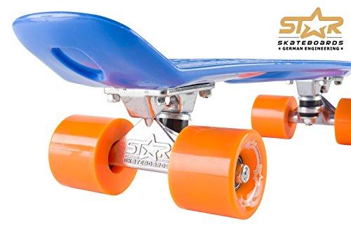 STAR-SKATEBOARDS® Vintage Cruiser Board ★ 22er Diamond Class Edition ★ Paradiesisch Blau & Sunny Orange -
