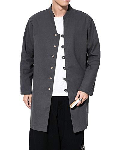 DianShaoA Herren Chinesisch Traditionell Leinen Jacke Freizeit Lange Ärmel Übergangsjacke Mäntel Rauchfarben 4XL -