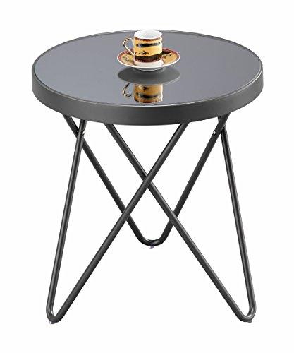 ASPECT Puccini Verre Café d'appoint Ronde Extrémité Lampe de Table, métal, Anthracite/Gris Miroir, 42.5 x 42.5 x 46 cm