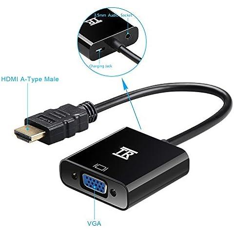 HDMI su VGA,1080P con porta audio,TechRise Placcato Oro Adattatore HDTV HDMI a VGA Convertitore Maschio a Femmina con Cavo di Ricarica Micro USB e porta audio 3.5mm -