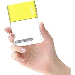 Artlii Mini Projecteur, Cadeau de noel pour les enfants, LED videoprojecteur portable, Pico projecteur de poche compatible avec HDMI/USB/Smartphone, pour l'animation,Video,Camping, Jeu(Jaune et blanc)