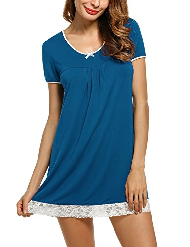 Unibelle Damen Nachthemd Sleepshirt Kurzarm Nachtwäsche A-Linie Casual Nachtkleid Still Pyjama Pfauenblau XL