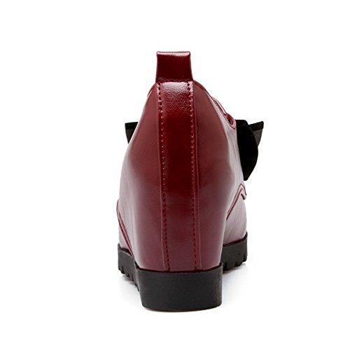 AllhqFashion Femme Rond Tire Pu Cuir Couleur Unie à Talon Haut Chaussures Légeres Rouge Vineux