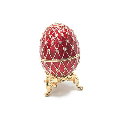 Musikspieluhr Fabergé-Stil Ei Box rot mit Ring, Sammelfiguren-Set mit SWAROVSKI-Kristallen Limited Edition