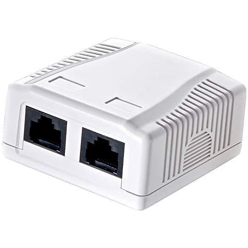 odedo CAT 6 Gigabit 250Mhz Anschlussdose Aufputzbox Universal Netzwerkdose 2X RJ 45 für Gigabit Übertragung Reinweiß RAL9010, AWG 22 23 24 25 26 auch PoE, Network Surface Mount Box