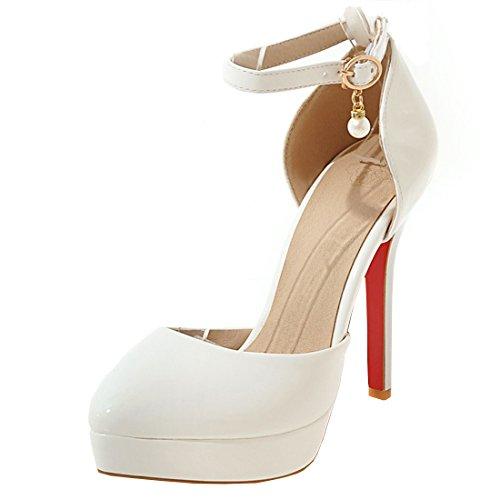 Vitalo donna scarpe decolte eleganti da sposa lavoro plateau cinturino vernice con alto tacco a spillo(bianco,35)