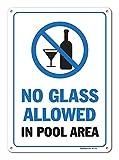 GIGIEU Pool Schilder – No Glass Allowed in Pool Area Schild – Pool Rules – Großes 10 x 14 Aluminium für den Innen- und Außenbereich