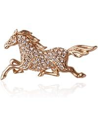 Fashion Plaza Damen Brosche mit weiss Kristall Pferd Form BR301