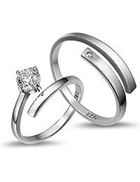 Peora Platinum Plated Silver Trendy Elegant Austrian Crystal Adjustable Couple Ring for Men & Women