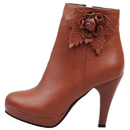 HooH Femmes Bottines Fermeture éclair 3D Flower Talon haut Plateforme Boots Marron