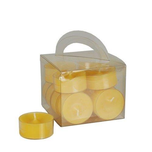 12 Teelichter Ø 38 mm · 18 mm gelb in Polycarbonathülle.