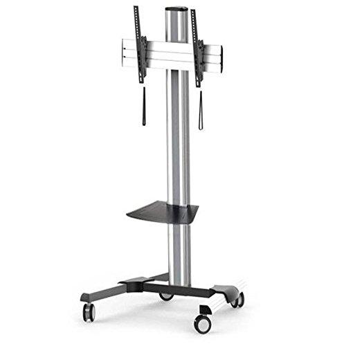 Maclean MC-620 Tragbarer TV Bodenständer Standfuss Ständer Halter Halterung LCD LED Aluminium 37-70'' Zoll Trolley Glasregal 55kg 55 kg