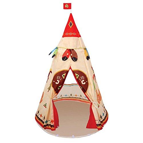 ROKF Kinderzelt für Jungen, Mädchen, Indianerzelt für Kinder, Tipi Spielzelt für Jungen, Spielzelt für Kinder, drinnen und draußen - Wachsen Zelt 3x4