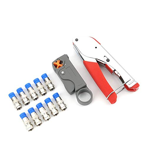 Line Clamp Plier Set (1KT-52L10 Coaxial Wire Cable Strip Cutter Clamp Cutting Crimper Tool Set Blue)