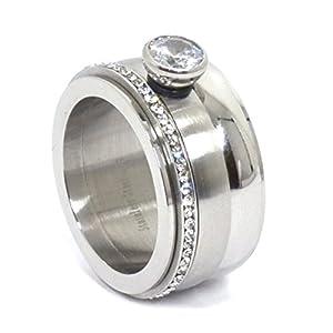 Arnello Edelstahlring Spinner Drehring Cluster Silber mit Strass 1,2cm