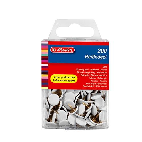 Herlitz Reißnagel rund, kunststoffummanteltes Metall, 200 Stück in Hängebox, weiß -
