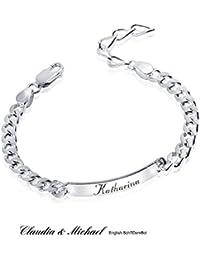 MATERIA Herren Armband Silber 925 wahlweise mit Gravur Schildarmband 6mm  Männer diamantiert 19-23cm SA 88f85e74ac