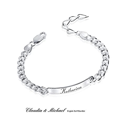 MATERIA 925 Silber Armband mit Gravur diamantiert - 6mm Panzerkette Herren Damen 19-23cm verstellbar + Box #SA-13