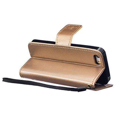 iPhone 5S Hülle Case,iPhone SE Hülle Case,Gift_Source [Kartenschlitz] [Hinterbauständer Eigenschaft] PU LederHülle Case Tasche Hüllen Schutzhülle Scratch Magnetverschluss Telefon-Kasten Handyhülle Sta E01-03-Gold160620