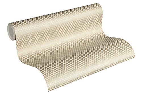 Designdschungel by Laura N. Vliestapete mit Punkten im Metallic-Look matt glänzend 10,05 m x 0,53 m metallic weiß Made in Germany 365763 36576-3