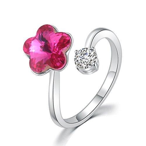 Anello gioielli moda - fiore e zircone cubic - anello dito regolabile con cristallo swarovski - taglio classico - regalo ad anello regalo per donne ragazze