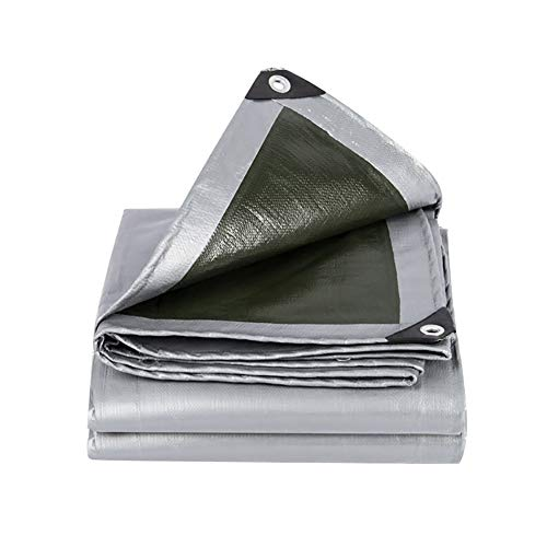 Preisvergleich Produktbild XUEYAN Plane Wasserdichte Bodenplane umfasst Plane Polythene PE Sonnenschutz-LKW Gewächshaus Isolierter Schuppenstoff Armee grün-Silbergrau,  180g / m² (größe : 2x3M)