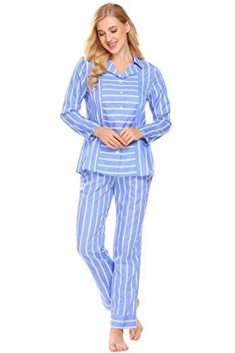illen gestreift lang hose pyjama set Weihnachten blau (Weihnachts-pyjama-hose Für Familie)