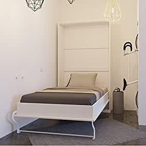 smartbett schrankbett 120x200 cm vertikal weiss farbauswahl bettschrank wandbett. Black Bedroom Furniture Sets. Home Design Ideas