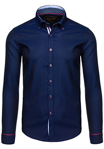 BOLF Langarm Herrenhemd Hemd Figurbetont Freizeit Slim Fit GLO STORY 9669 Dunkelblau