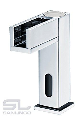 Sanlingo - Waschtisch-Sensorarmatur, Mischbatterie, Batteriebetrieb, Wasserfall, LED-Beleuchtung, Chrom