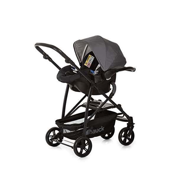 Hauck Rapid 4 X Plus Trio Set, 3-in-1 Travel System from Birth Up To 25 kg, Infant Car Seat Group 0, Carrycot and Buggy, One Hand Fold, Height-Adjustable Push Handle, Lying Position, Mickey Cool Vibes  3 in 1 stroller set. includes pushchair, carry cot and group 0+ car seat. Rapid fold system. the one hand fold system makes this pushchair ideal for shopping trips, and it folds small enough to fit in most car boot Optional isofix base.  the group 0+ car seat is compatible with the hauck comfort fix car seat base. 14