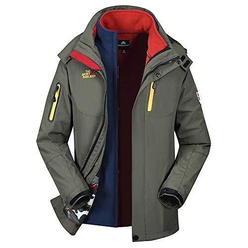 UJUNAOR Herren Zweiteiliger Anzug Mantel Wanderjacke Herbst Winter DREI in Einem Funktionsjacke(Armeegrün,CN XL)