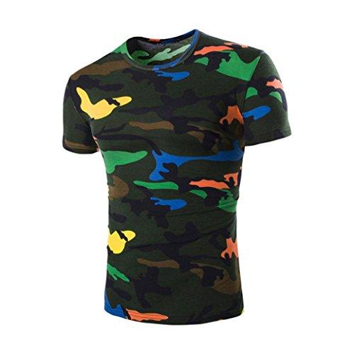 Rcool Männer Sommer gedruckt Pullover Camouflage Bluse Kurzarm T-Shirt Grün