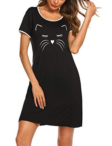MAXMODA Donna Camicia da Notte Comodo Casual Sexy Semplice Pigiami Camici Vestaglia Camicia da Notte Manica Corta Girocollo