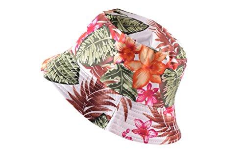 Wooly Bugged Damen Faltbarer Anti-UV Sommerhut Blatt und Blumen Weiß