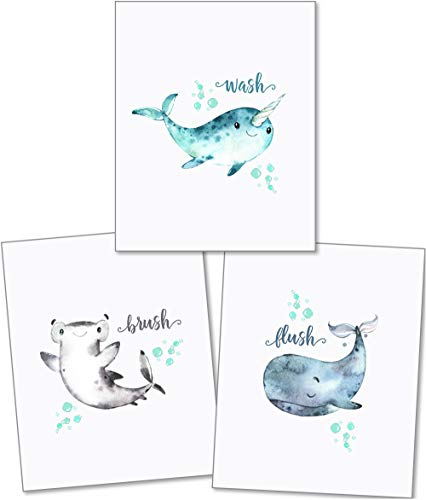 Konfetti Fox Kids Badezimmer Wand Decor - 8 x 10 Set von 3 Art Prints - Junge Mädchen Kleinkind Kindergarten gerahmt Nautisches Watercolor Baby Sea Animals Dolphin Shark Wal - Wash Brush Flush - Kid Für Badezimmer-sets Jungen