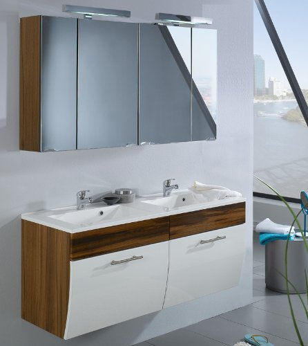 #Badezimmer Set Hochglanz weiß Walnuss Badmöbel Spiegelschrank Waschtisch Badset#