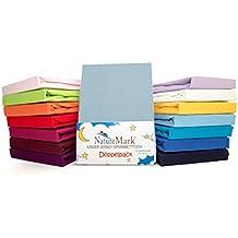 2er para niños de sábana bajera ajustable de punto Pack de ahorro 100% de algodón para niños juego de ropa de cama de colchón de certificación Oeko Tex ...