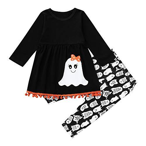 Huihong Baby Mädchen Kleidung Set Langarm Print Quaste Top + Hosen für Halloween Weihnachten Karneval Outfit (Schwarz, 4 Jahre/120)