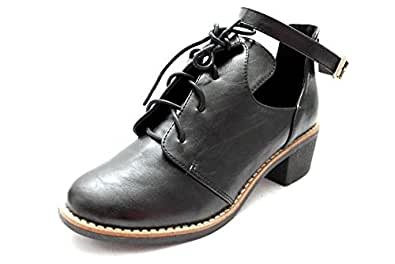 F10521A Womens Cut Out Lace Up Ankle Strap Low Mid Heel Chunky Boots Size Uk 8
