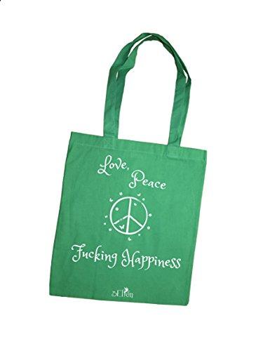 Borsa tote donna Love Peace & Fucking Happiness porpora verde