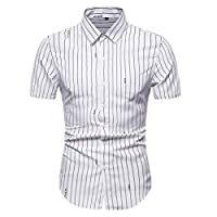 GAGA Women Short Sleeve Lapel Stylish Tops Stripe Button Front Shirt White M